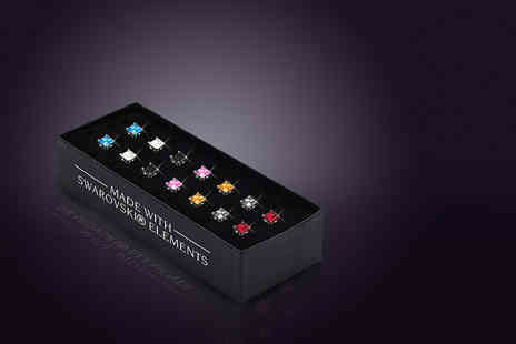 The Gemseller - Set of seven pairs of crystal earrings made with Swarovski Elements - Save 91%