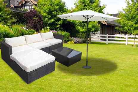 PKL Leisure Ltd - Rattan corner sofa set and table to include a parasol - Save 63%
