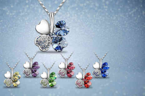 Van Amstel Diamond BV - Rhodium plated clover necklace with Swarovski Elements choose from seven colours - Save 81%