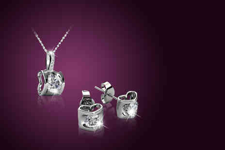 My Boutique Store - 18k white gold-plated duo set made with Swarovski Elements - Save 95%