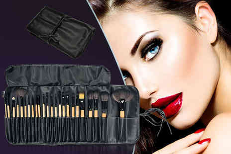 SalonBoxed -  24 piece professional makeup brush set with PU leather case - Save 80%