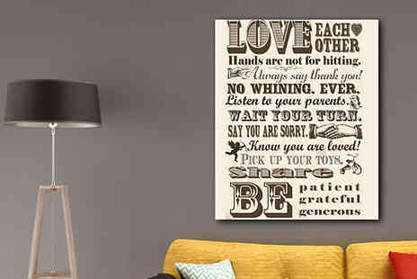 Castel Canvas Prints - Family Rules Canvas Print - 20 x 12in - Save 27%
