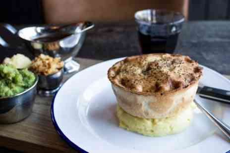 Pieministers Restaurant - Pieminister Pie With Mash, Mushy Peas and Gravy with Beer or Wine - Save 43%