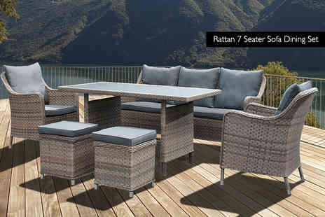 Oseasons - Seven or Eight seater Kensington rattan dining furniture set - Save 56%