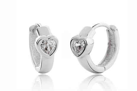 Elle and Be - Swarovski Elements Crystal Heart Sleeper Hoops - Save 79%