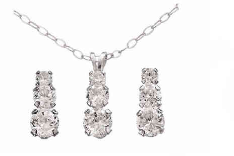 DTA Trading - Sterling silver and cubic zirconia necklace and earrings set - Save 60%