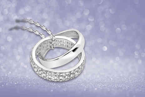 Van Amstel Diamond - Double ring pendant choose rhodium or yellow gold plated - Save 81%