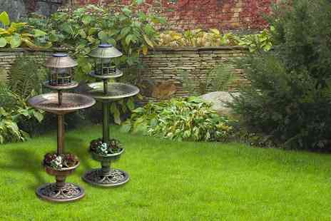 Hungry Bazaar - Solar powered bird bath and feeding station ornament - Save 60%