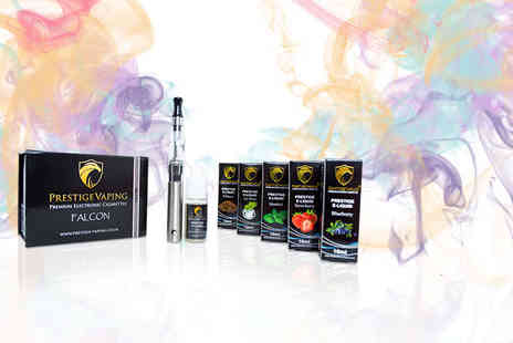 Prestige Vaping - Nine piece e cigarette starter kit with four e liquids - Save 50%