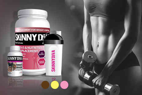 Skinny Diva - Four week supply of meal replacement shake mix and a shaker and a 1 month supply of ultimate T5 fatburners - Save 72%