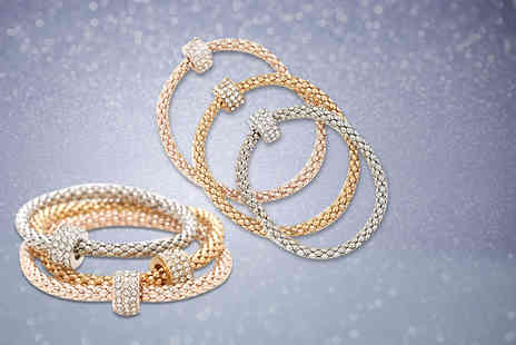 London Gem - Tri tone  Milano bracelet set with a beautiful crystal encrusted charms - Save 65%