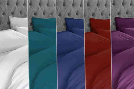 Adam Linens - Single, double, king size or super king size duvet cover set in a choice of 18 colours - Save 62%