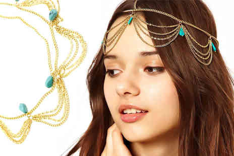 Elle and Be - Bohemian turquoise festival head chain - Save 80%