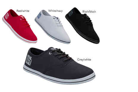The Fashion City - Pair of mens Henleys lace up canvas pumps - Save 70%