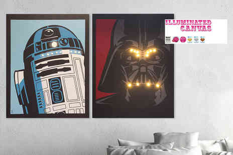 Illuminated Canvas - LED Star Wars canvas print choose from three designs - Save 60%
