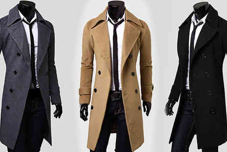 Gagala - Mens Double Breasted Trench Coat Three Colours - Save 0%