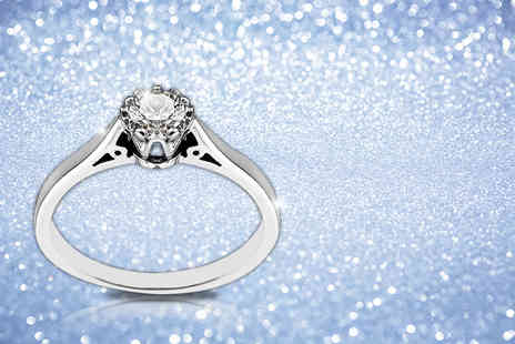 British Gem - 20 point white diamond and 9 carat white gold engagement ring - Save 78%