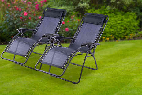 UK Home and Garden Store - Two textilene zero gravity reclining chairs - Save 69%