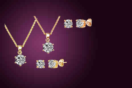 Vivid Jewels - Necklace and earrings set made with 18ct gold plating and Swarovski Elements - Save 87%