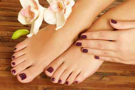 Sip and Sinmi - Shellac Manicure or Pedicure with Hand or Foot Scrub and Hot Towel Treatment - Save 53%