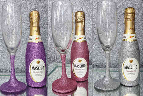 Bottle Bling - Mini glitter bottle of Prosecco and matching glass set - Save 45%