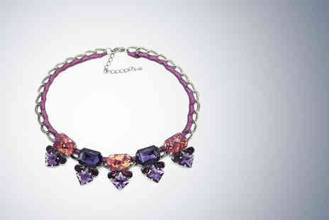 Cian Jewels - Statement stone necklace in black, blue or purple - Save 85%