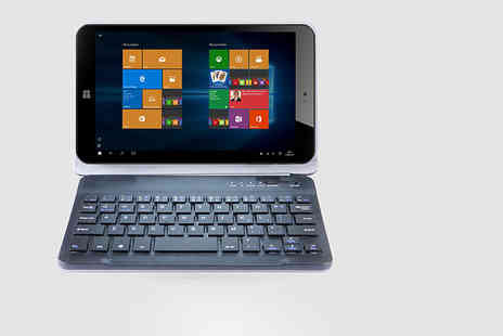 Hedoo - 8 inch Windows 10 Intel quad core tablet 32GB with a faux leather case and detachable keyboard - Save 67%
