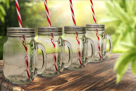 UK Home & Garden Store - Set of four Mason jar drinking glasses with lids and straws  - Save 73%