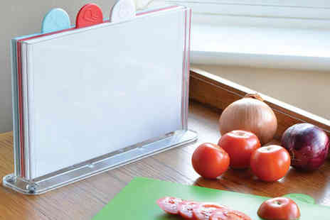 Jean Patrique - Four piece colour coded chopping board set board set with Perspex storage  - Save 75%