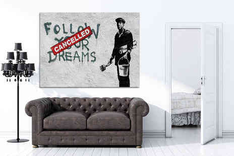 "You Frame International - 40"" x 30"" Banksy canvas print - Save 82%"