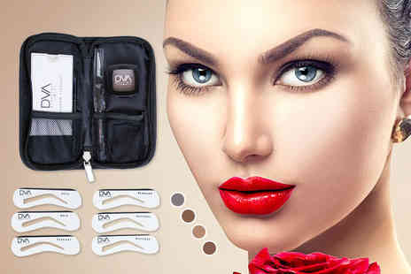 DVA Beautique - Semi permanent brow kit including six stencils, a brush, brow powder and a cosmetics bag  - Save 85%