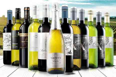 Virgin Wines - 12 bottle selection of hand-crafted boutique wine including a bottle of Prosecco - Save 65%