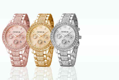 Elle and Be -  Freya watch made with Swarovski elements choose from three colours - Save 88%