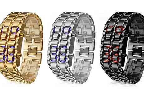 Groupon Goods Global GmbH - LED Digital Lava Iron Style Metal Sports Watch in Choice of Colour  - Save 0%