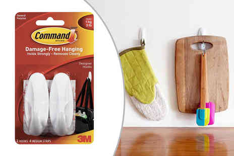 FC Supplies - set of two Command medium sticky hooks with four adhesive backing strips - Save 80%