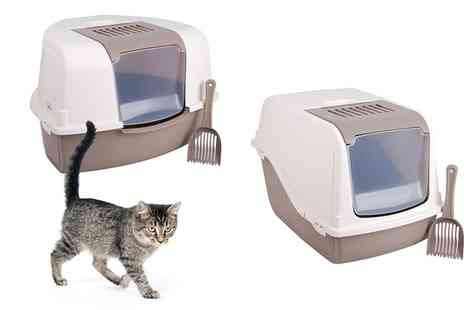 Groupon Goods Global GmbH - Hooded Cat Litter Tray With Scoop Rectangular or Corner - Save 60%