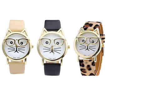 Elle and Be - Cat geek watch choose from black, beige or leopard print - Save 76%