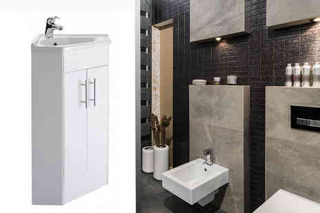 Jacob Dylan - Premier Mayford high gloss corner bathroom basin and cabinet Plus Delivery Included - Save 58%