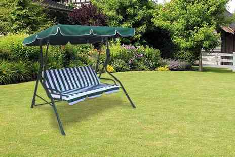 Oypla - Three seater garden swing seat with a built in sun canopy - Save 59%