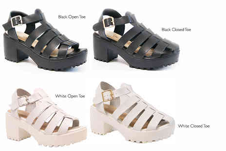 MY UL - Pair of chunky sandals in black or white with closed or open toes - Save 61%