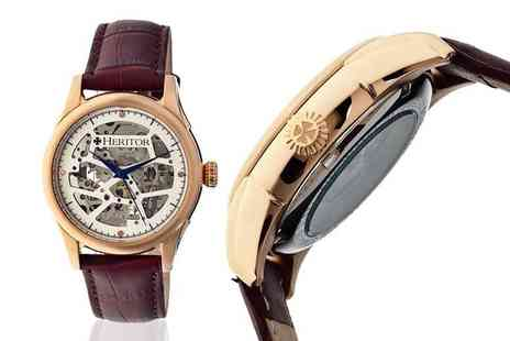 Ideal Deal - Heritor Nicollier automatic watch with skeleton casing choose from six designs   - Save 83%