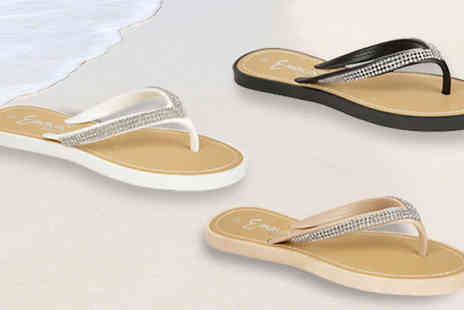 Solewish - Womens Cala Diamante Flip Flops in 3 Colours - Save 67%