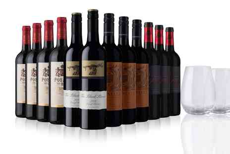 Sunday Times Wine Club - The Sunday Times Wine Club 12 Bottles of Red Wine Plus Dartington Wine Glasses With Free Delivery - Save 47%