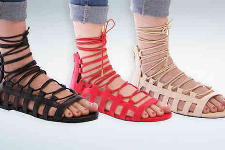 Solewish - Janie Lace Up Gladiator Sandals - Save 30%