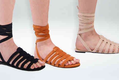 Solewish - Cleo Lace Up Gladiator Sandals Three Colours - Save 30%