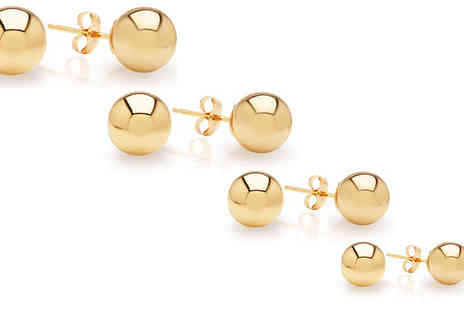 Jewellery Bank - 14ct Gold Ball Stud Earrings - Save 50%