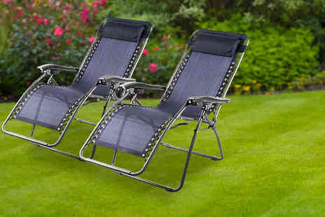 UK Home and Garden Store - Two textilene zero gravity reclining chairs - Save 68%