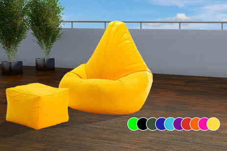 UK Beanbags - Outdoor highback beanbag with a matching footstool choose from 10 bright colours - Save 72%