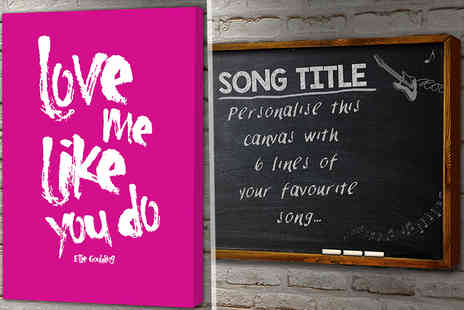 You Frame International - Choose from 10 iconic designs or create your own song lyric canvas - Save 80%