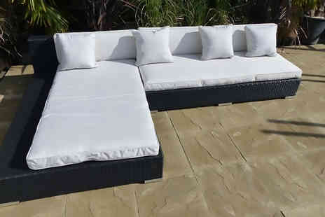 Oceans Rattan Furniture - Mississippi rattan sofa and chaise end section - Save 57%